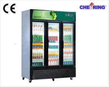 Upright Three Door Glass Compact Refrigerator For Beverage China Factory  OEM Supermarket Refrigeration Equipment