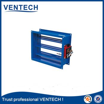 HVAC duct square volume damper with motorized actuator