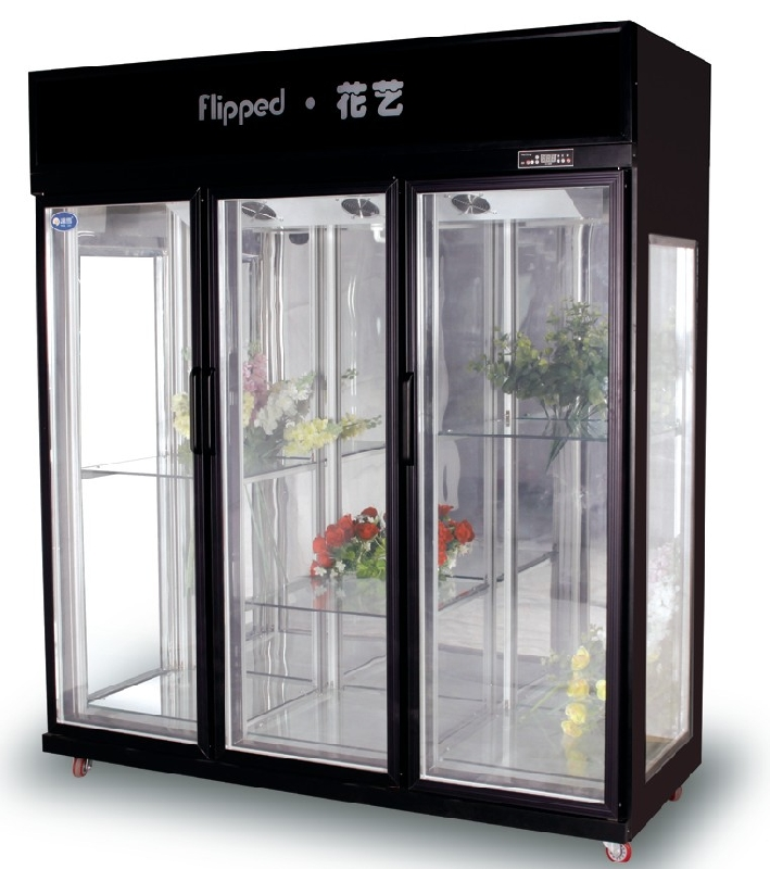 818 Degree Commercial Glass Door Flower Showcase Humidity Control