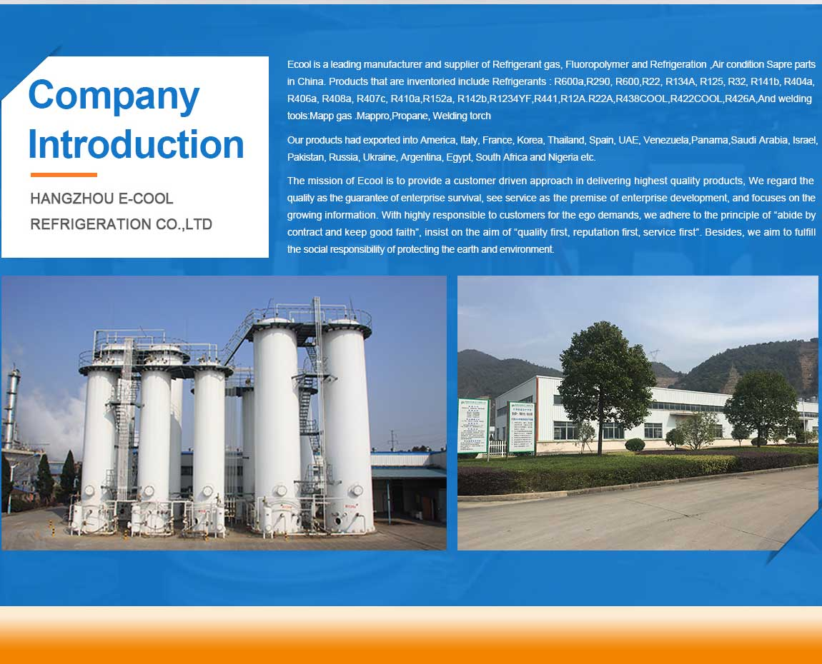 E-COOL MANUFACTURING CO ,LIMITED - refrigerant gas, freon gas