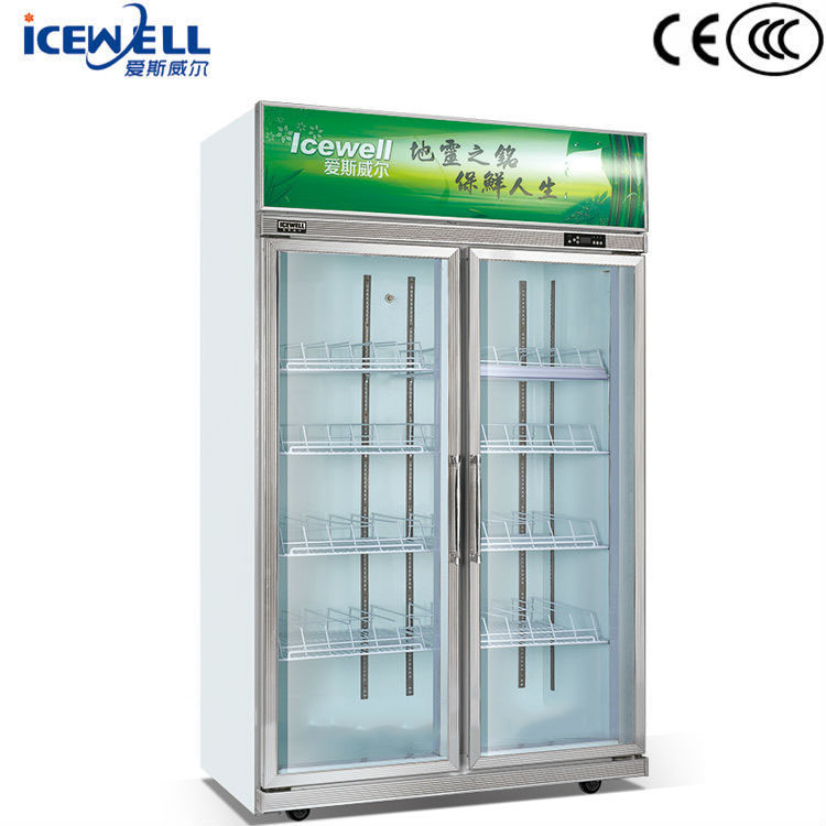 2 Glass Door Brands New Display Counter Commercial Refrigerator